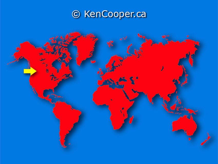 World Map illustration. © KenCooper.ca - All Rights Reserved.
