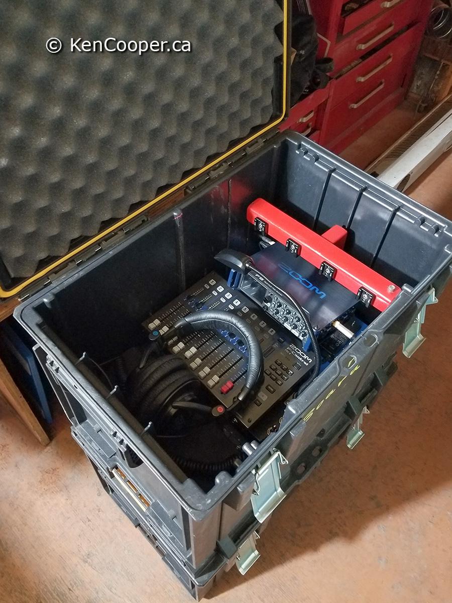 Soundboard sitting in big Dewalt case.
