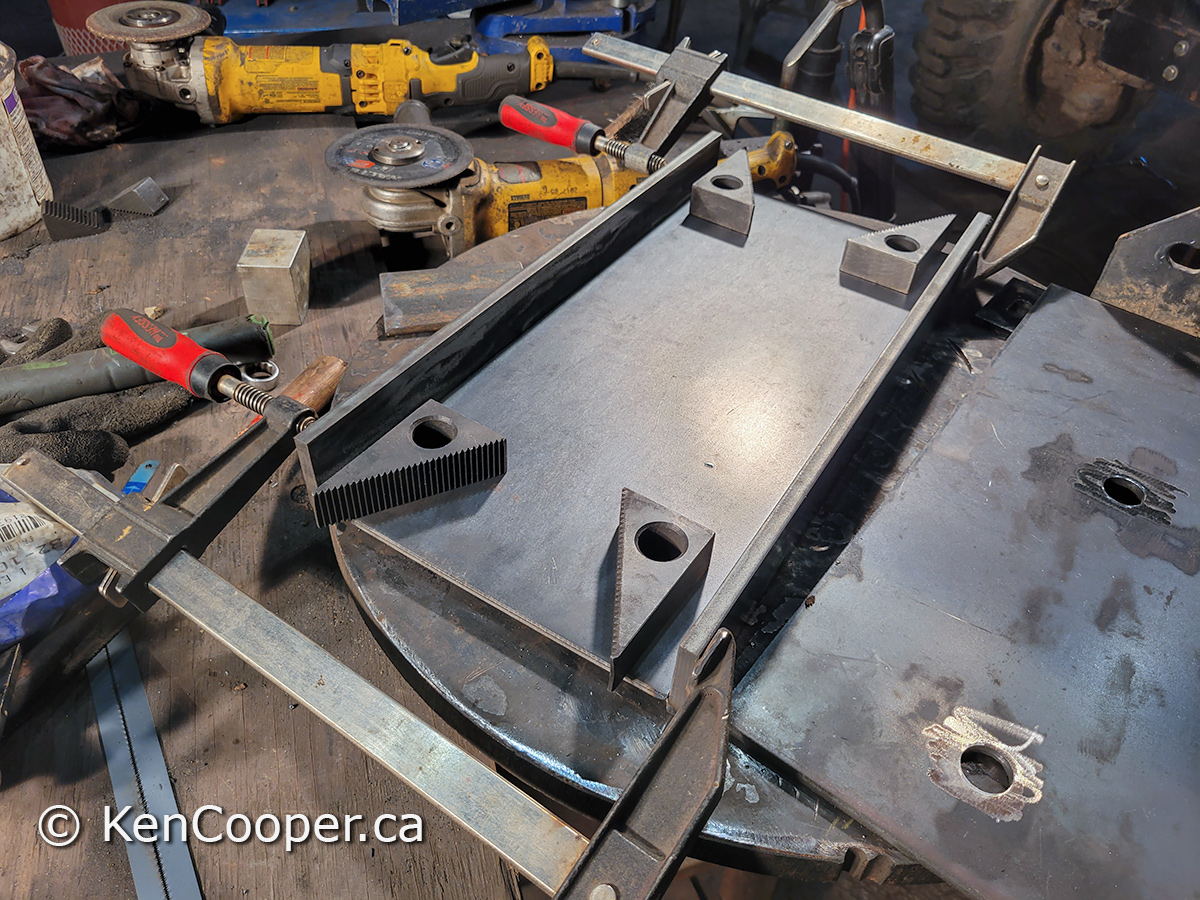 Bottom plate was tack welded with the mig. Now using 1 inch blocks to position the top plate.