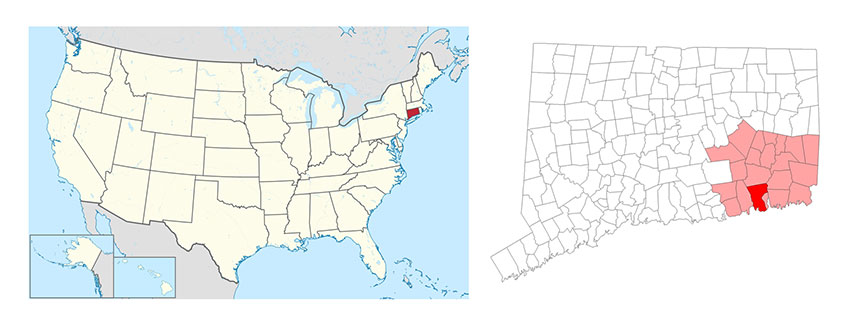 Map: USA Connecticut
