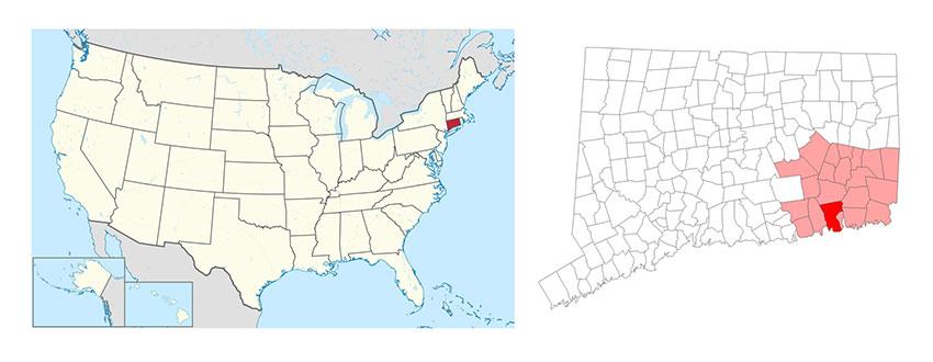 Map: USA Connecticut
