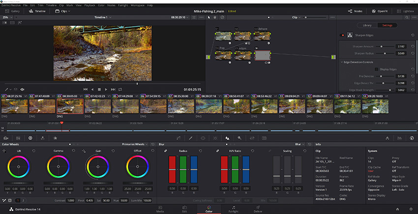 The selected clips being edited in DaVinci Resolve.