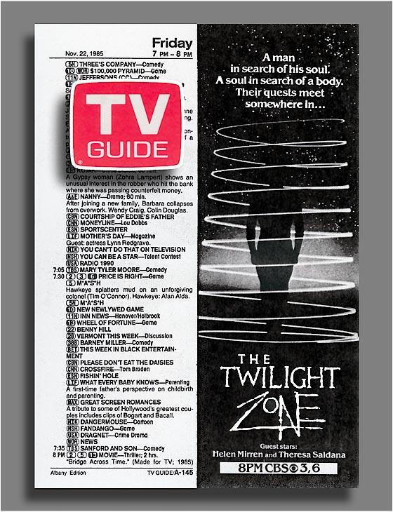 TV Guide magazine - The Twilight Zone - advertisement.