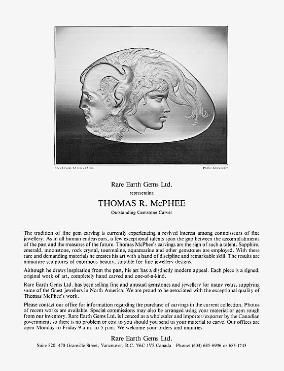 Thomas R McPhee - Rare Earth Gems Ltd - advertisement.